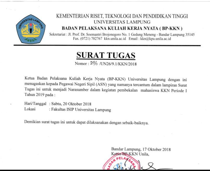Surat Tugas Pembekalan Kkn Periode I Tahun 2019 Bp Kkn Unila